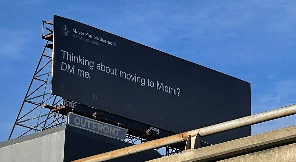 """Alex Garcia on Twitter: """"How to poach big tech/talent from SF to Miami? Buy  a billboard in San Fran about moving to Miami. @FrancisSuarez with the  chess move.… https://t.co/Dgp52kkwOI"""""""