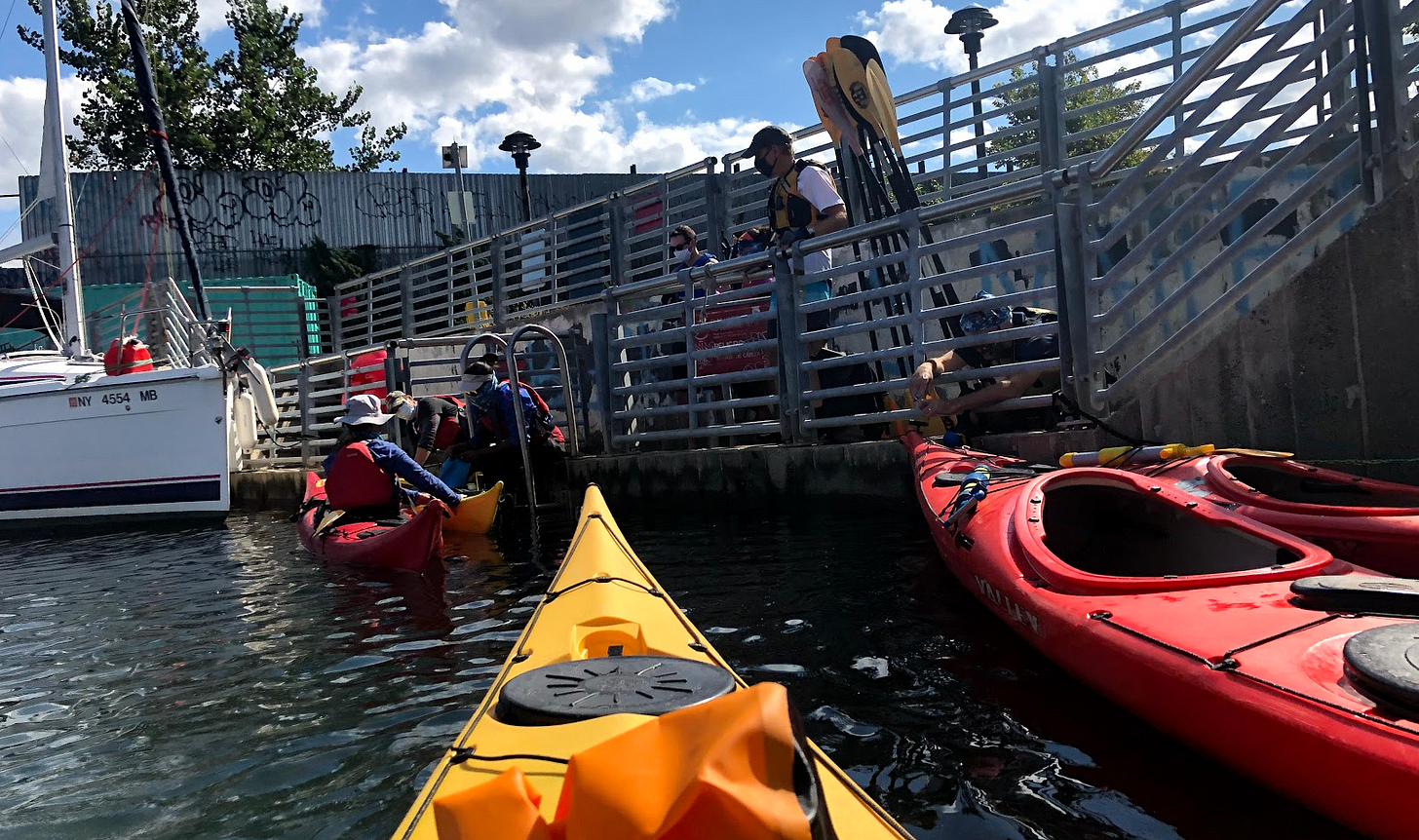Kayaking in Newtown Creek between Greenpoint and Long Island City with the  Brooklyn Bridge Park Boathouse.