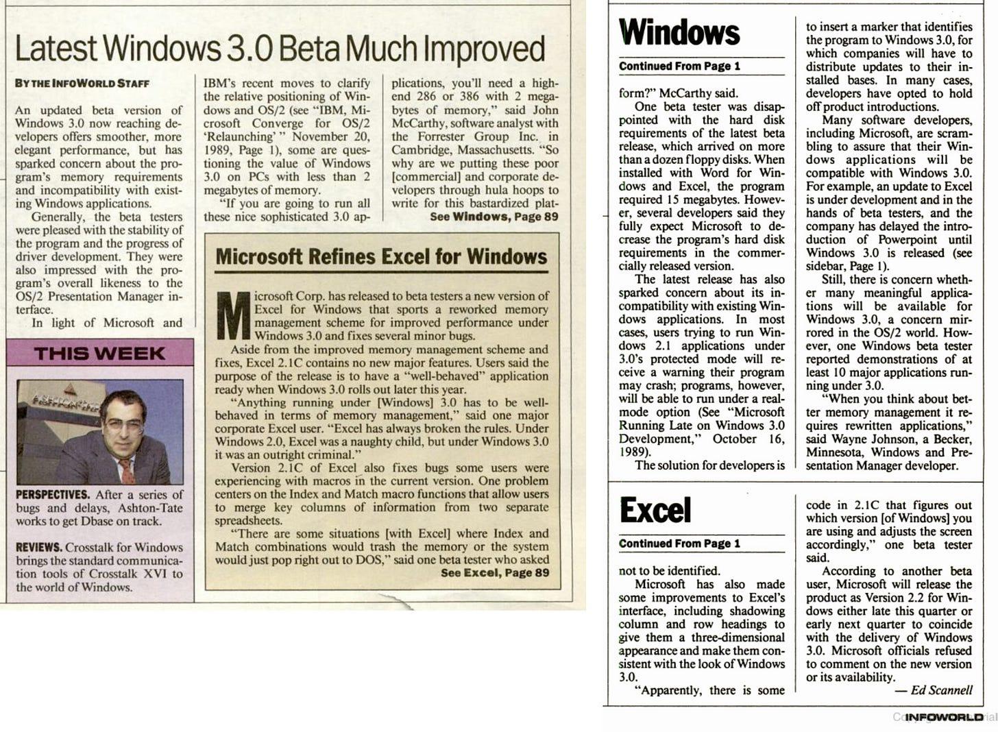"Infoworld headline ""Latest Windows 3.0 Beta Much Improved"""