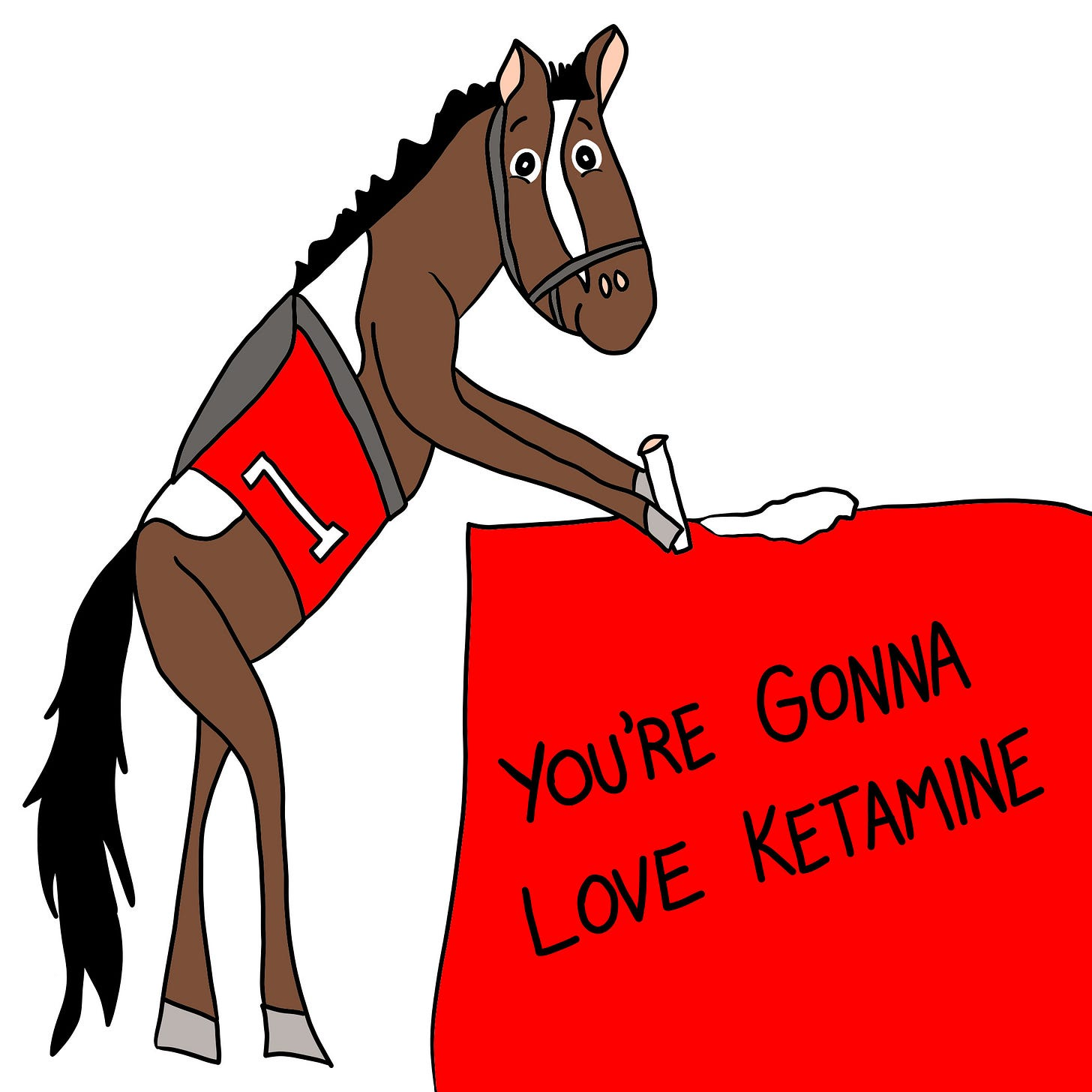 "Comic of a smiling horse about to snort a rail of drugs, with the caption ""You're Gonna Love Ketamine"""