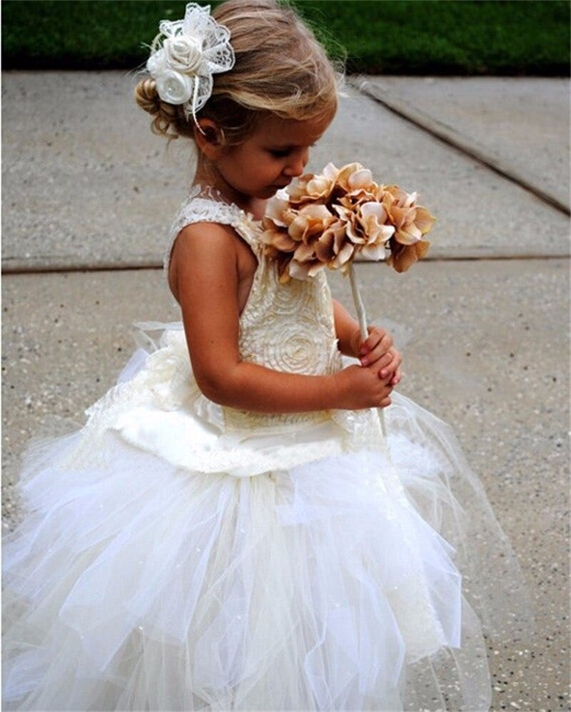 466987951 Brand New Flower Girl Dresses Princess Ball Party Pageant Communion Dress For Wedding White Ivory Girls Kids Children Dress Weddings Events Wedding Party Dress
