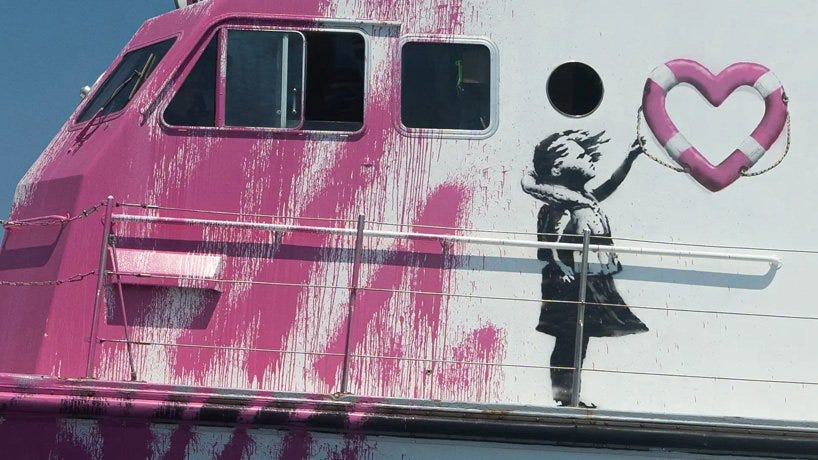 banksy funds 'louise michel' rescue boat to help refugees crossing the mediterranean