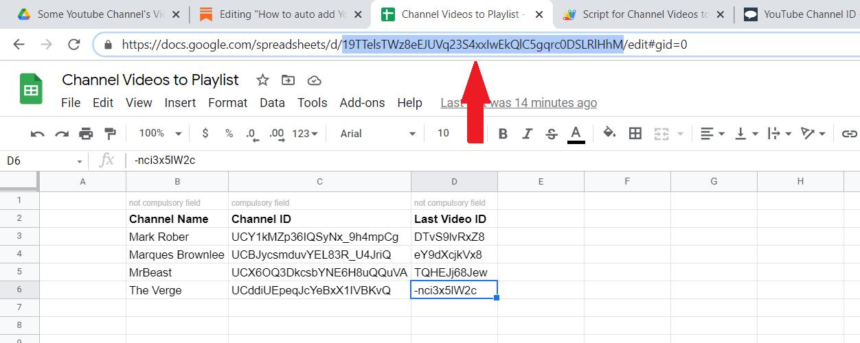 Indicating Google Spreadsheet ID