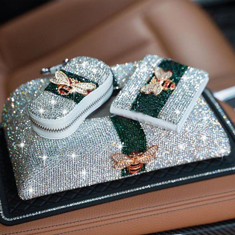 Car Key Bag Bee Cute Diamond Multi-function Zipper Keychain Universal Lady Driver