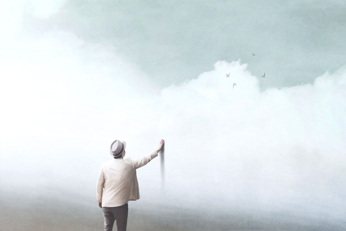 Man Touching Optical Illusion Wall Painted with Vapor Clouds and Birds