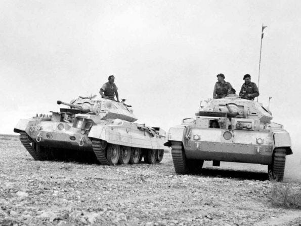 Crusader tanks moving to forward positions in the Western Desert, 26 November 1941. The Mk I only had a two pounder gun and was unreliable.