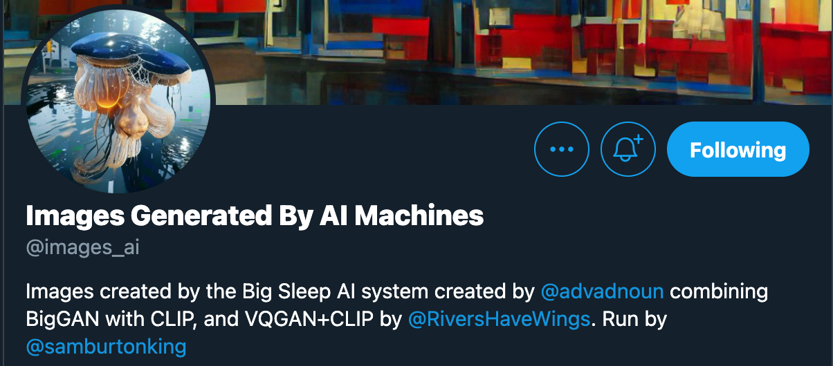 Screenshot of the @images_ai twitter profile page