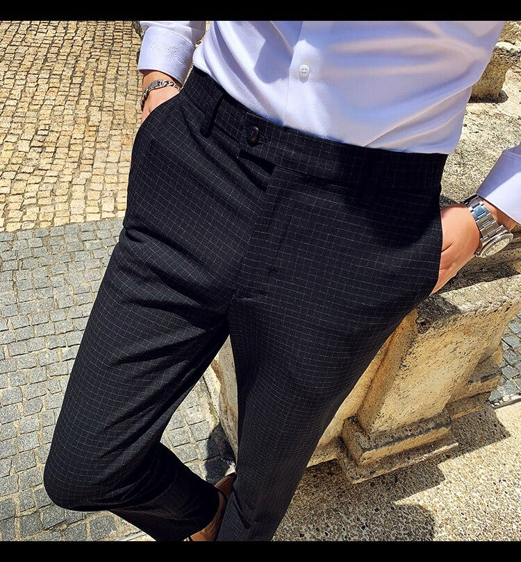 429140255 Men Slim Fit Pants Dress Formal Office Trousers Men Black Grey Plaid Social Perfume Masculino Pantalon Ropa De Hombre Vesti Men S Clothing Suits Blazer