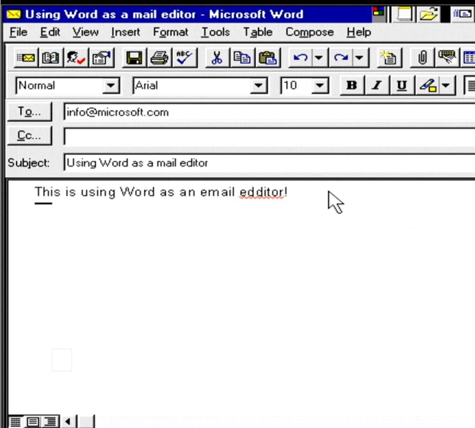 Shows an email message being edited using word with red squiggles
