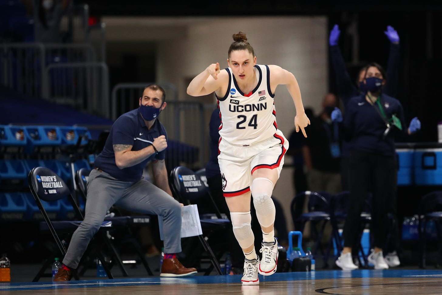 Anna Makurat as seen during the 2020-21 Sweet 16. (Photo by Justin Tafoya/NCAA Photos via Getty Images)