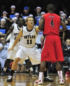 Aldridge at the defensive end - Courtesy of Butler University Sports Information