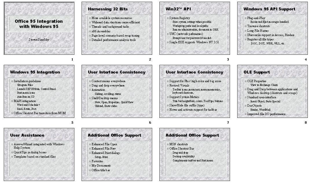 A slide sorter view of slides about building for Windows 95