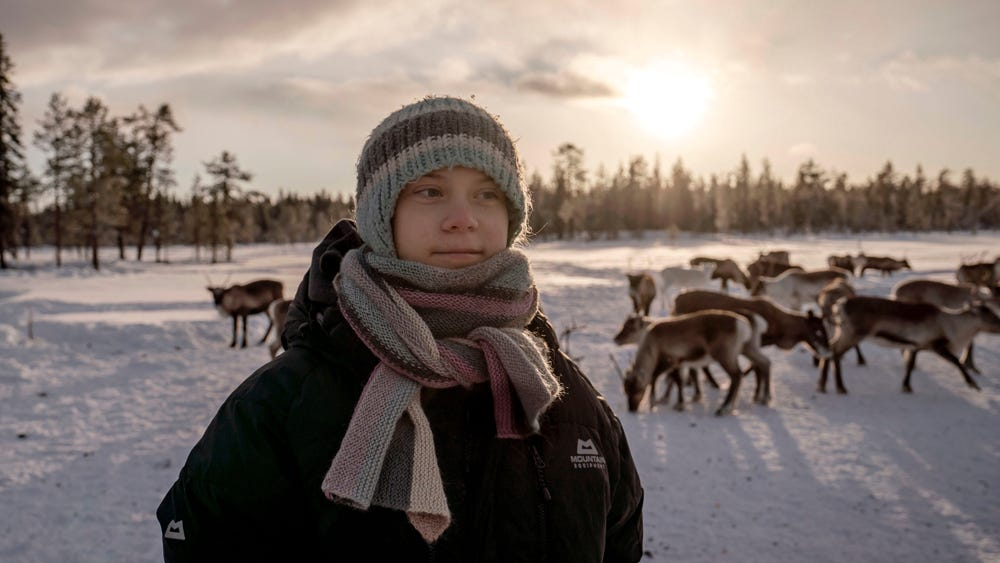 Exclusive All RoundMandatory Credit: Photo by IBL/Shutterstock (10549065d)Exclusive - Swedish climate activist Greta Thunberg visits a reindeer protection site in Projus, northern Sweden.Exclusive - Greta Thunberg visits reindeer, Lapland, Sweden - 05 Feb 2020