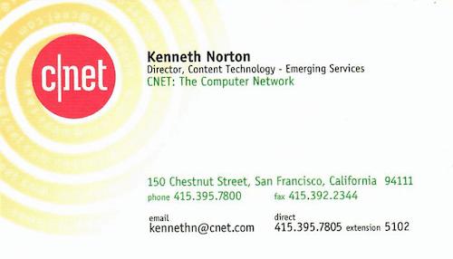 Ken's old CNET business card