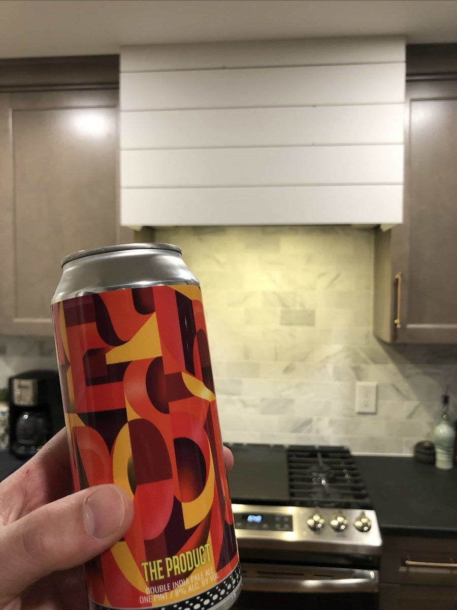 Kit's weekend picture including beer and the new range hood