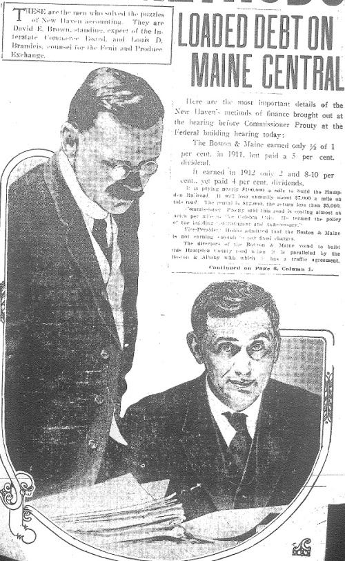Picture of Louis D. Brandeis and David E. Brown from the April 23, 1913 issue of the Boston American.
