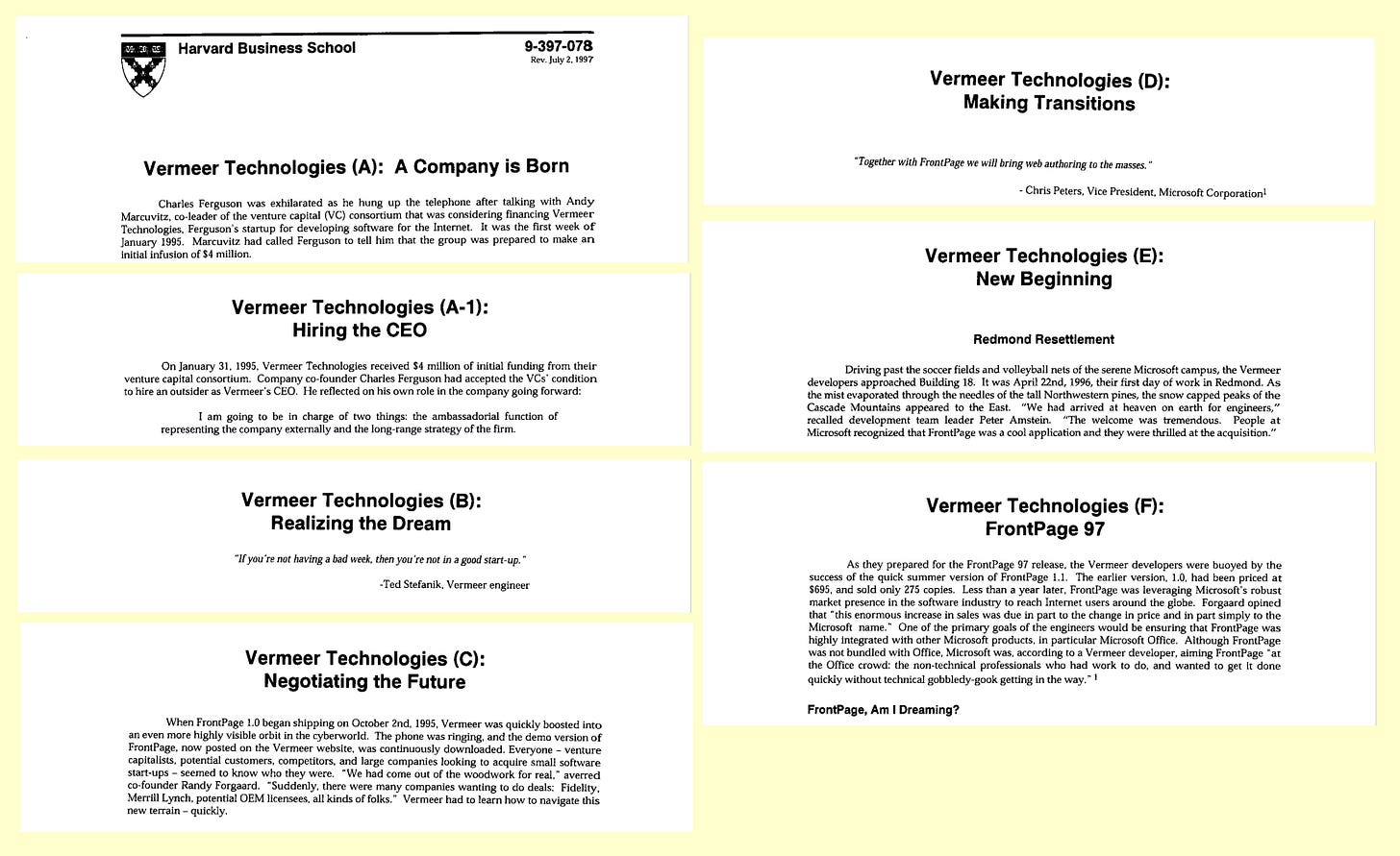 Scanned images of the title pages of all 7 parts of the Harvard case study on Vermeer.