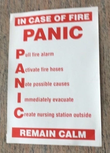 Bad acronyms: PANIC in case of fire!