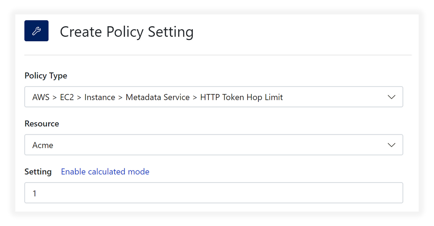 Turbot Amazon EC2 Instance Metadata Service HTTP Token Hop Limit Policy Setting
