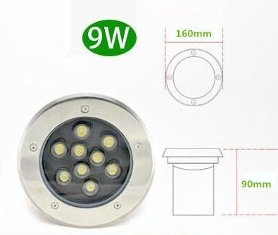 Free Shipping 9*1W LED Underground Light 9W Buried Recessed Floor Inground Yard Path Landscape Lamp Outdoor Lighting AC85-265V