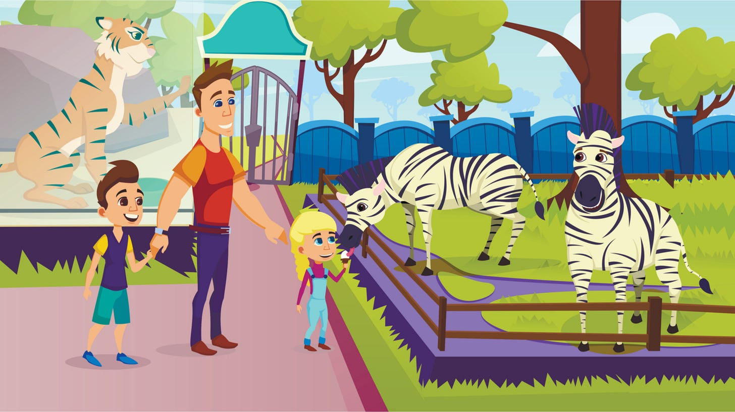 Father with Little Kids Visiting Animal Park, Children Feeding Zebra with Ice Cream in Zoo, Happy Family Excursion, Summer Time Vacation Activity, Leisure, Outdoors. Cartoon Flat Vector Illustration