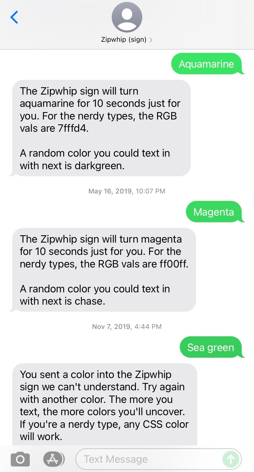 Texting the Zipwhip sign
