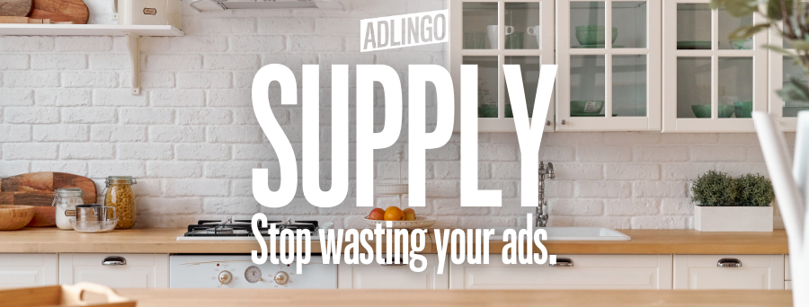 Supply: Stop wasting your ads. Text over photo of a white kitchen.
