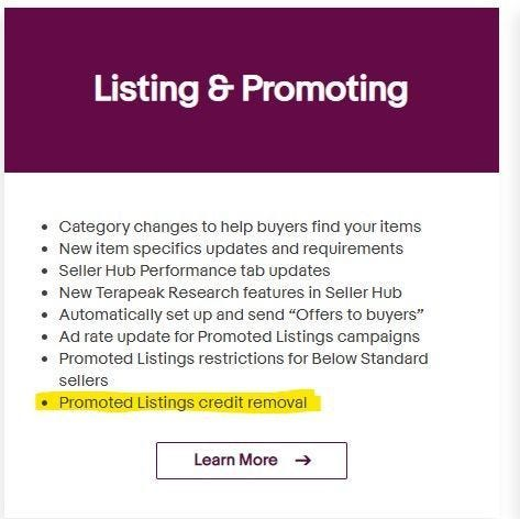 eBay Promoted Listings Credit Removal