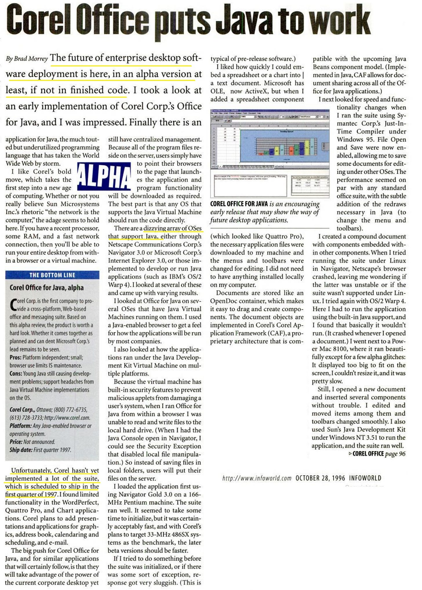 Corel puts Java Office to Work - scanned article