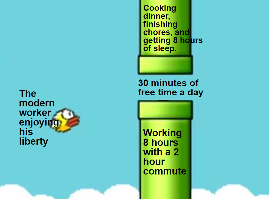 the modern worker enjoying his liberty with only 30 minutes of free time a  day   Flappy Bird   Know Your Meme