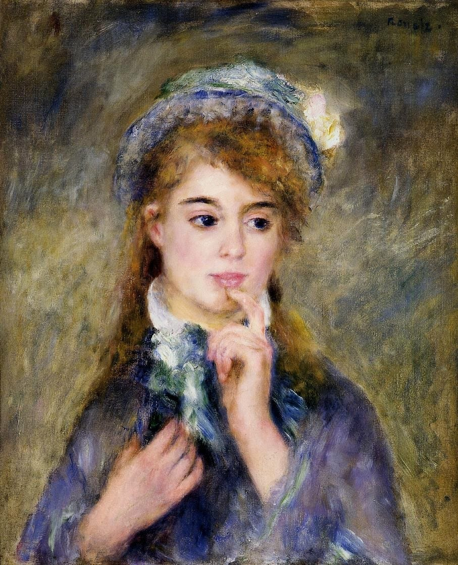 An Impressionist portrait of a young woman in a blue dress gazing into the distance and touching her index finger thoughtfully to her lips.