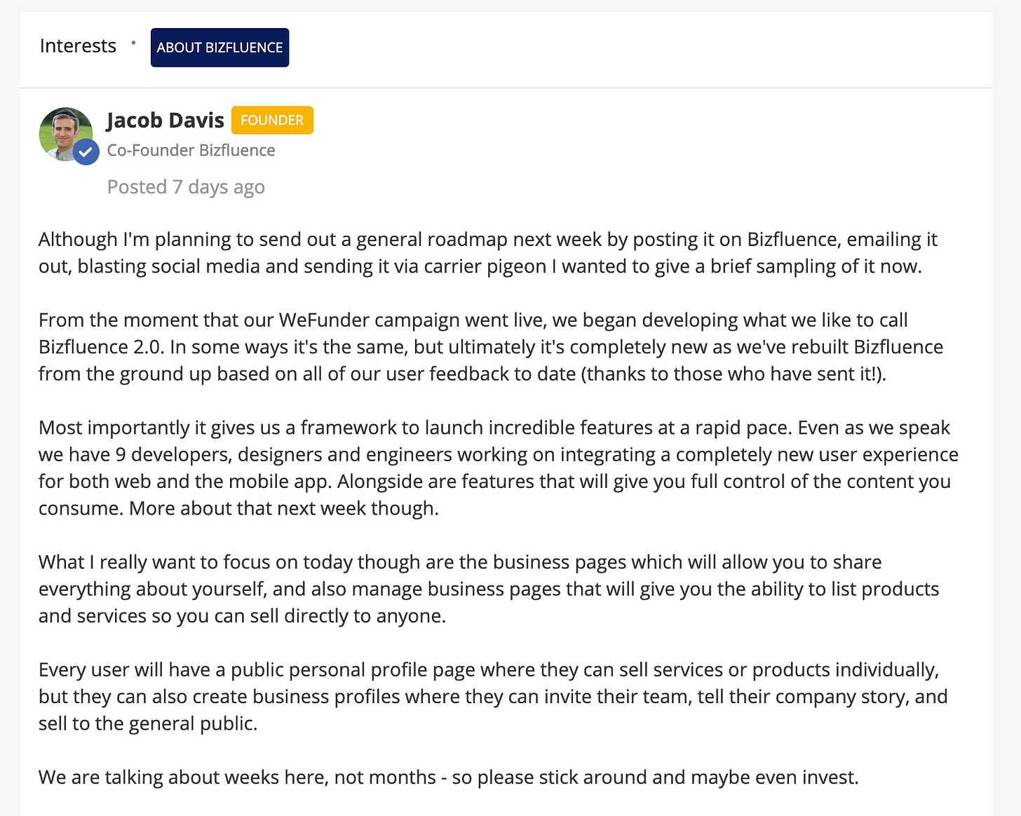 Announcement by Jacob, the CEO of BF
