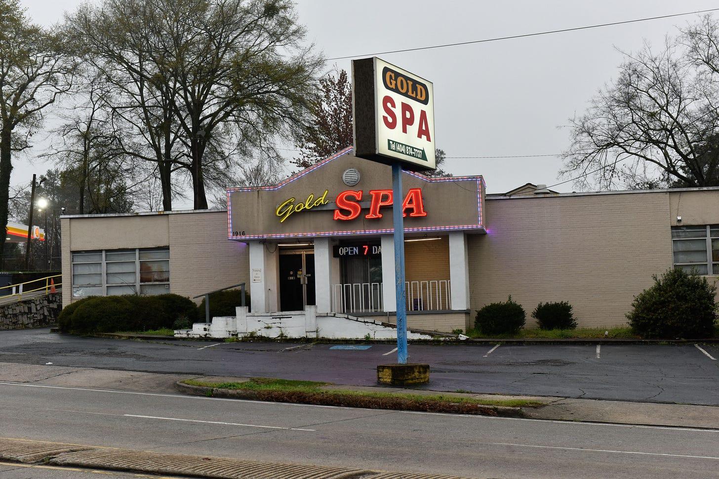 Golden Spa Site of Atlanta Shooting March 2021