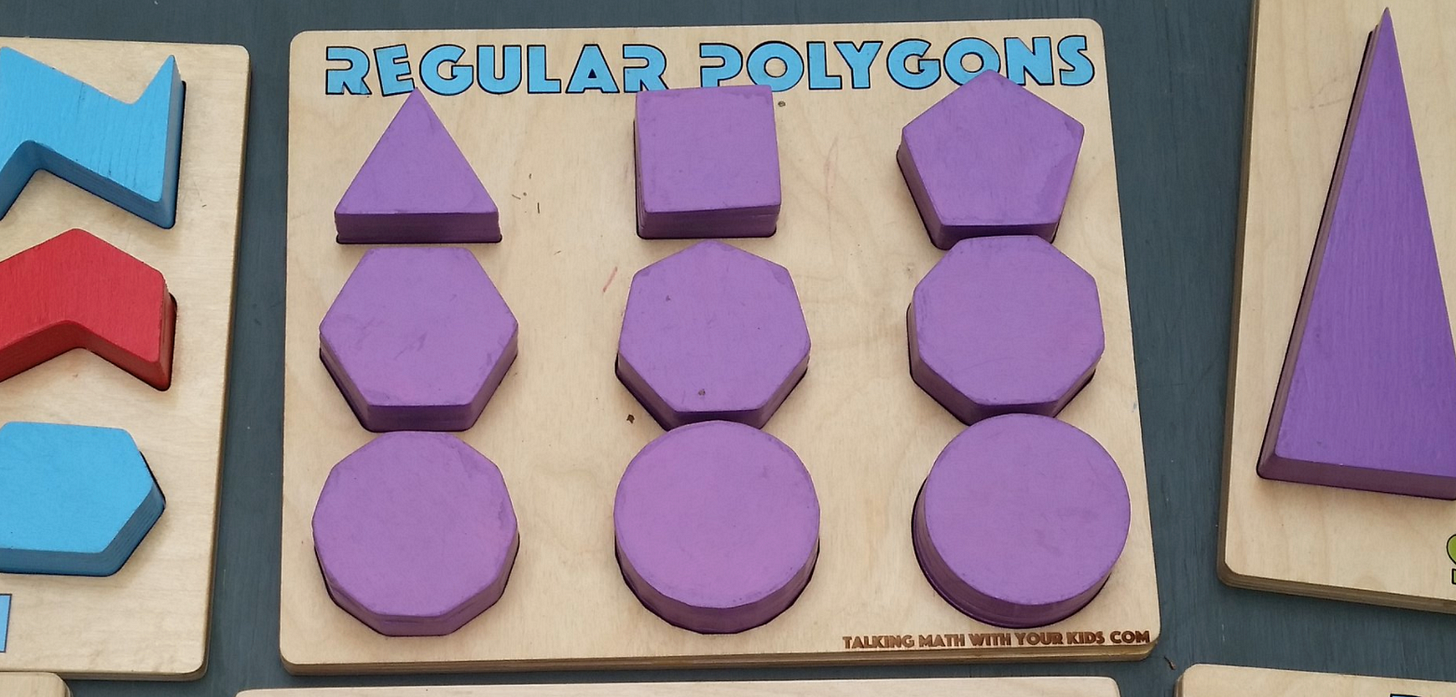 """A shape sorting board for """"regular polygons""""."""