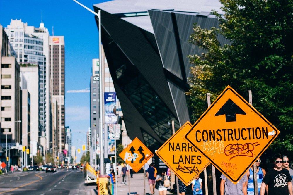 Construction signage on street