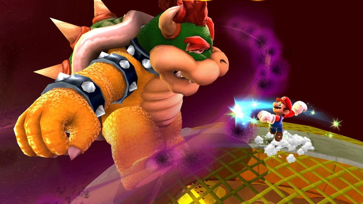Mario and Bowser square off in Super Mario Galaxy on Nintendo Switch