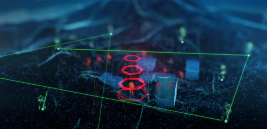 In a video still, enemies are lit in red while friendly forces are shown in green.