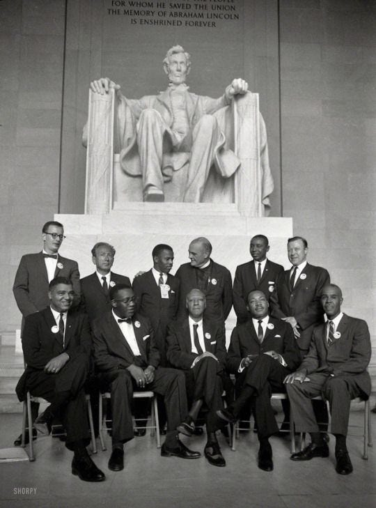 """August """"Group portrait of several of the organizers of the March on Washington, among them: Mathew Ahmann, Rabbi Joachim Prinz, John L. Black History Facts, Black History Month, Strange History, Whitney Young, Shorpy Historical Photos, Civil Rights Leaders, African American History, Asian History, British History"""