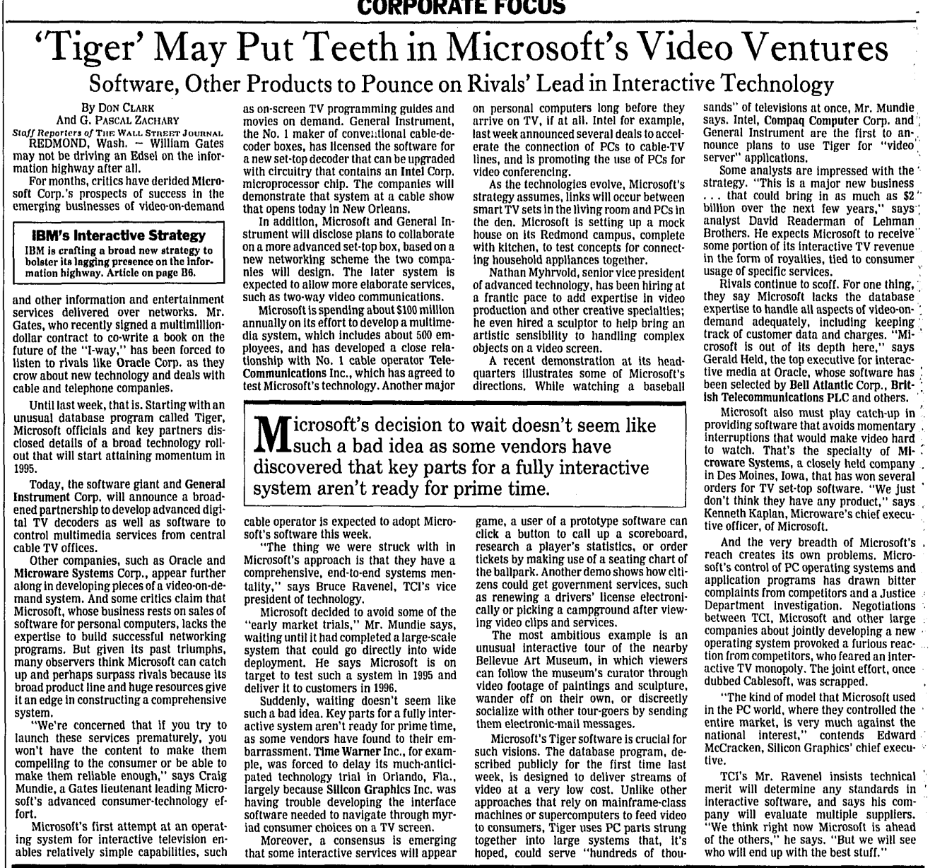 WSJ article: 'Tiger' May Put Teeth in Microsoft's Video Ventures: Software, other products to pounce on Rival's Lead in Interactive Technology