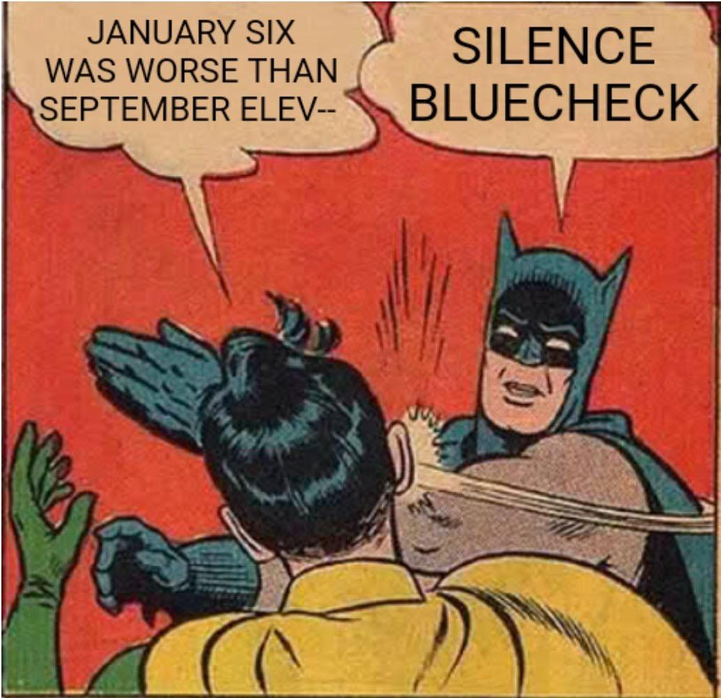 May be an image of 1 person and text that says 'JANUARY SIX WAS WORSE THAN SEPTEMBER ELEV-- SILENCE BLUECHECK'
