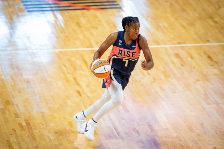 Ariel Atkins brings the ball up the court against the Las Vegas Aces