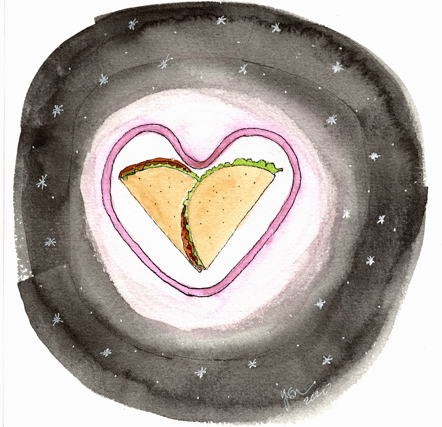 watercolor black background with stars in it surrounding a neon-light style heart surrounding two tacos overlapping to look like a heart.