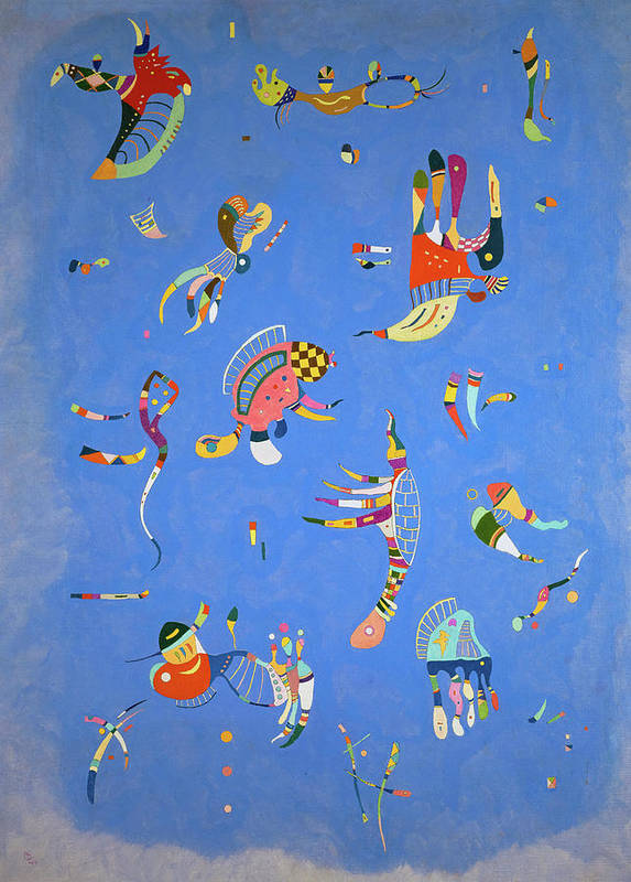 """A blue patch of what resembles the sky, is bordered by a slightly lighter blue tone representing clouds. Inside the """"sky"""", strange, brightly colored figures emerge floating against the blue. Each figure is shaped differently and is made up of unblended colors."""