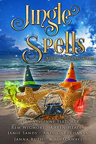 Cover of Jingle Spells which depicts two witch starfish with a cauldron and brooms on the beach