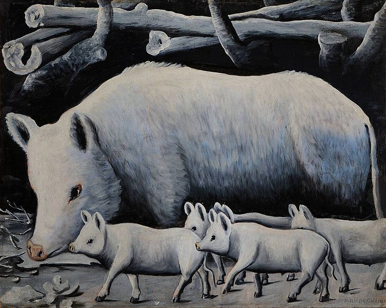 File:Niko Pirosmani. «White Sow with Piglets». Oil on cardboard, 80x100 cm. The State Museum of Fine Arts of Georgia, Tbilisi.jpg