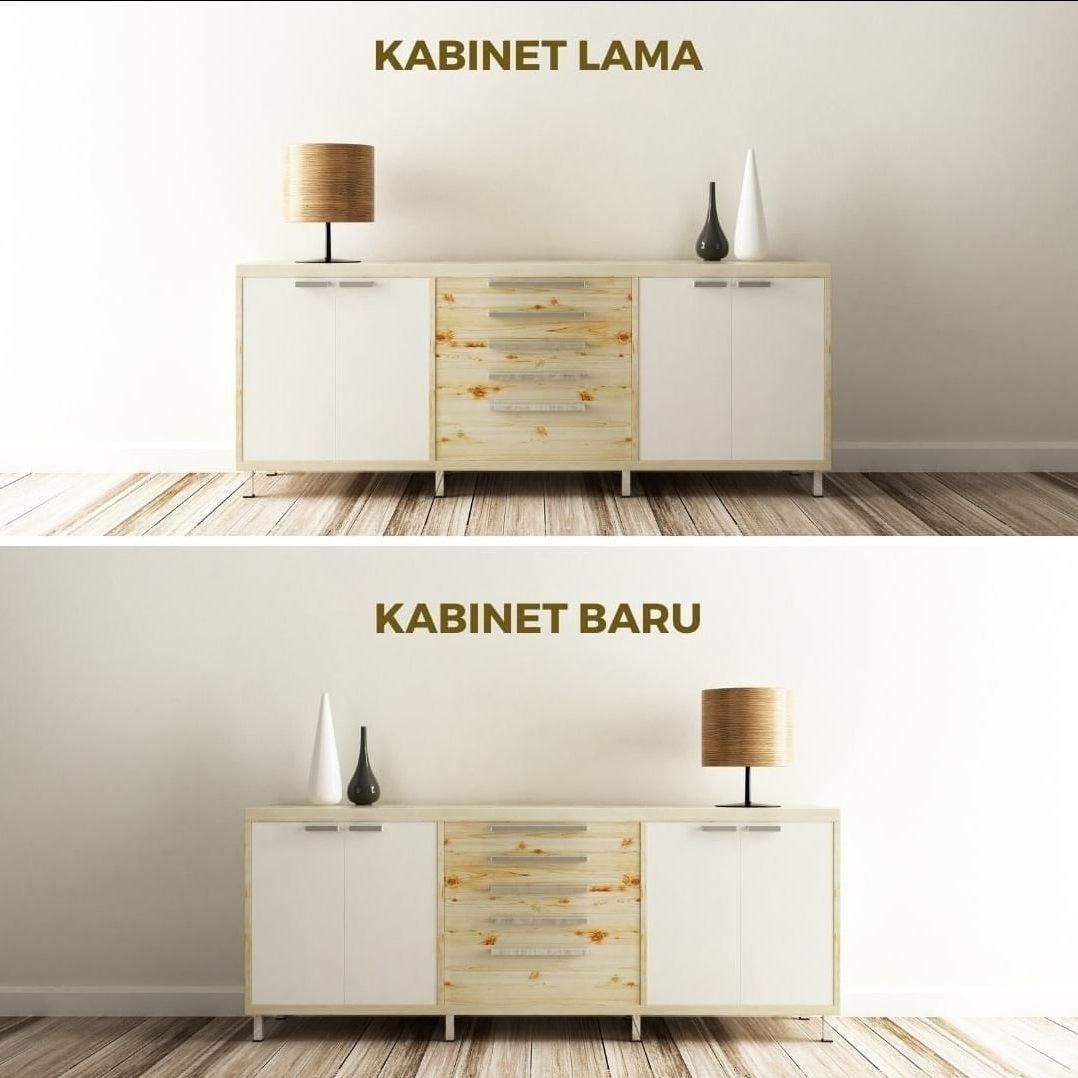 """May be an image of credenza and text that says """"KABINET LAMA KABINET BARU"""""""