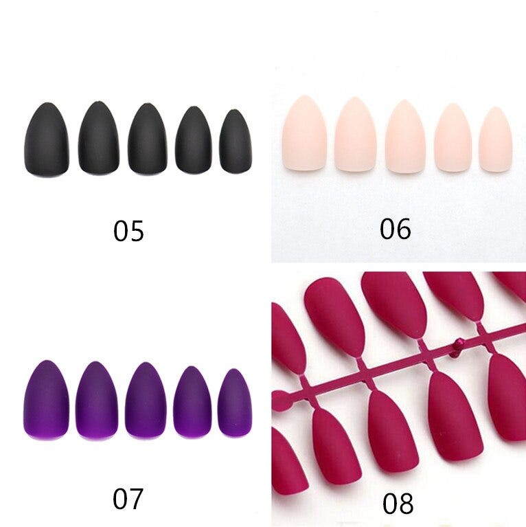 24pc Matte False Nails Black Medium Full Cover Stiletto Nail Tips Gray Red Purple Artificial faux ongle Press On Nails