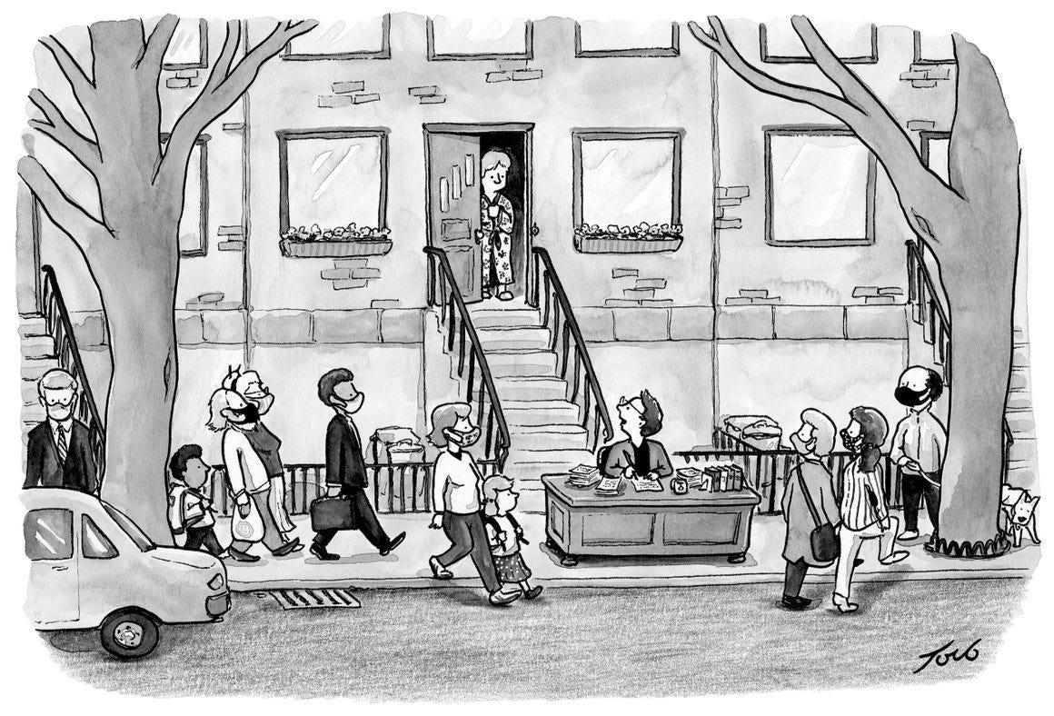 captionless cartoon by Tom Toro
