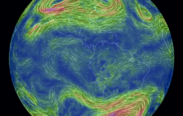 Global weather conditions forecast by supercomputers updated every three hours