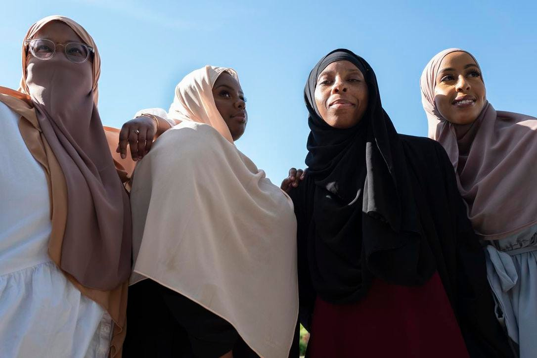 Members of The Digital Sisterhood team including founder Cadar Mohamud, Asha Khalif, Shanele Soares and Sarah Farah. The Digital Sisterhood is a start-up that creates creative content such as digital art, a blog and a popular podcast to showcase the stories of Muslim women through an intersectional identity lens.